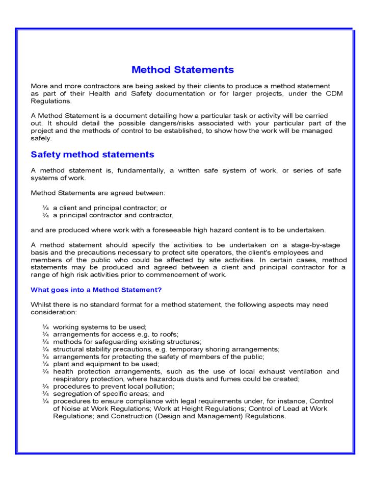 health and safety statement of intent template - method statement template free download