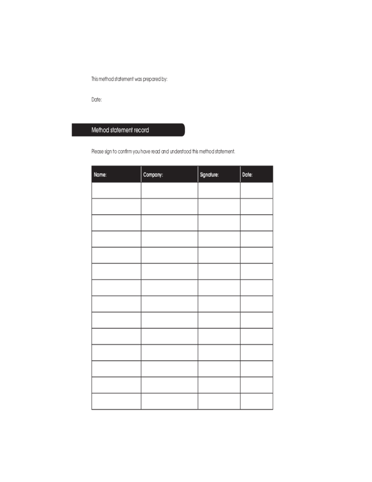 blank method statement template free download