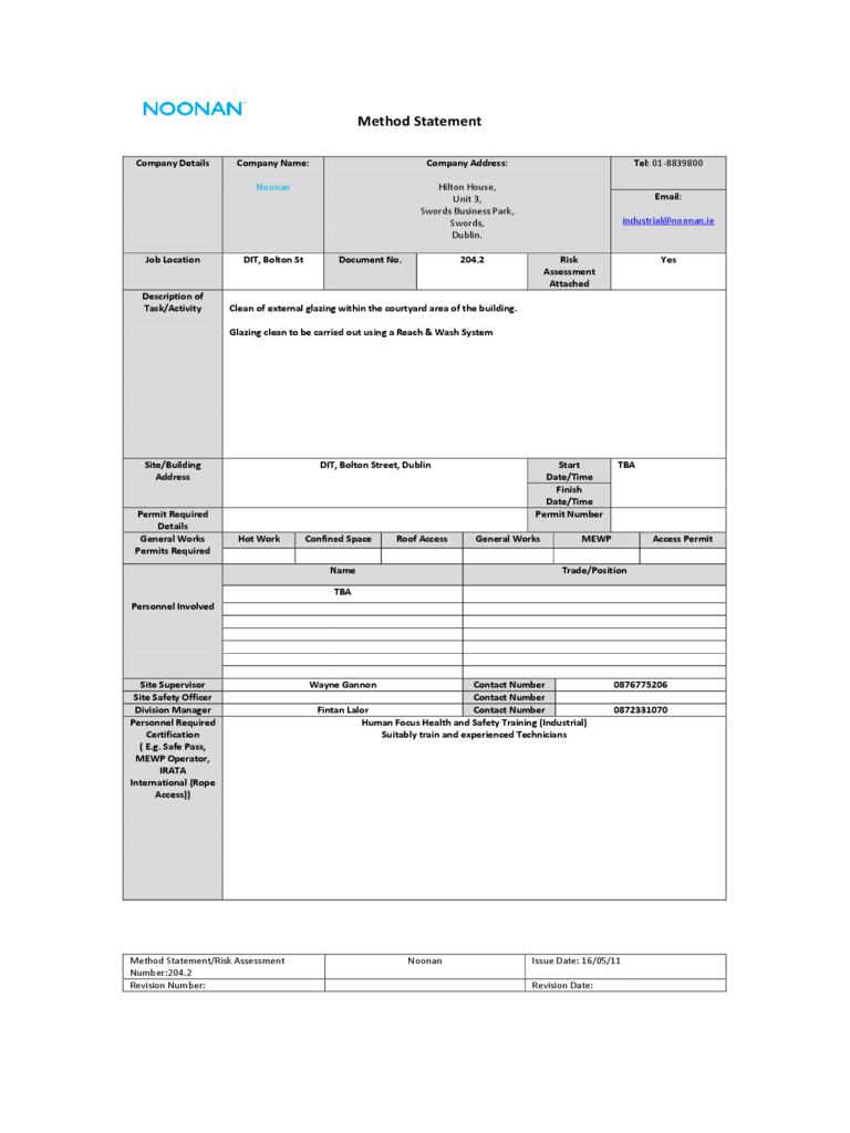 Method Statement 6 Free Templates in PDF Word Excel Download – Method Statement Template Doc