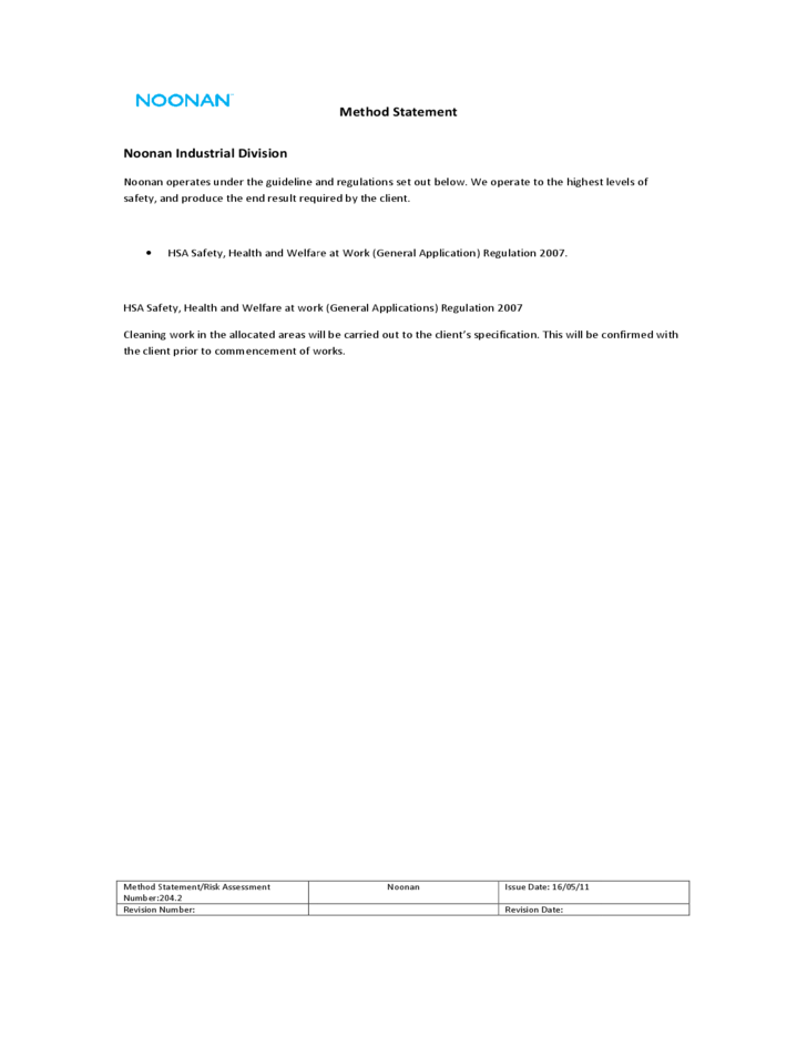 Standard Method Statement Template Free Download – Health and Safety Method Statement Template