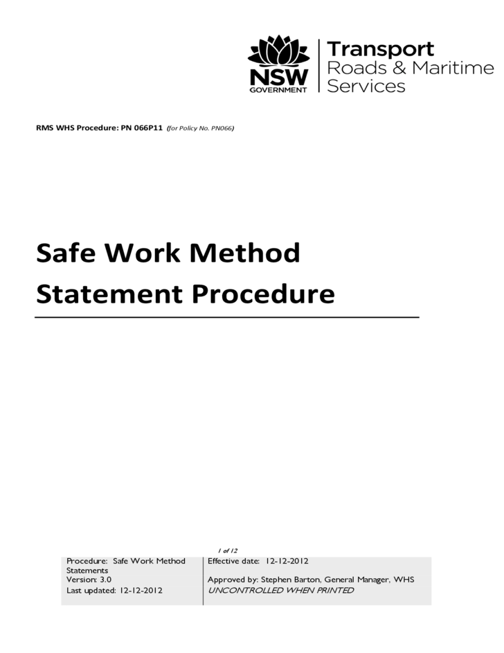 Safe Work Method Statement Procedure Free Download