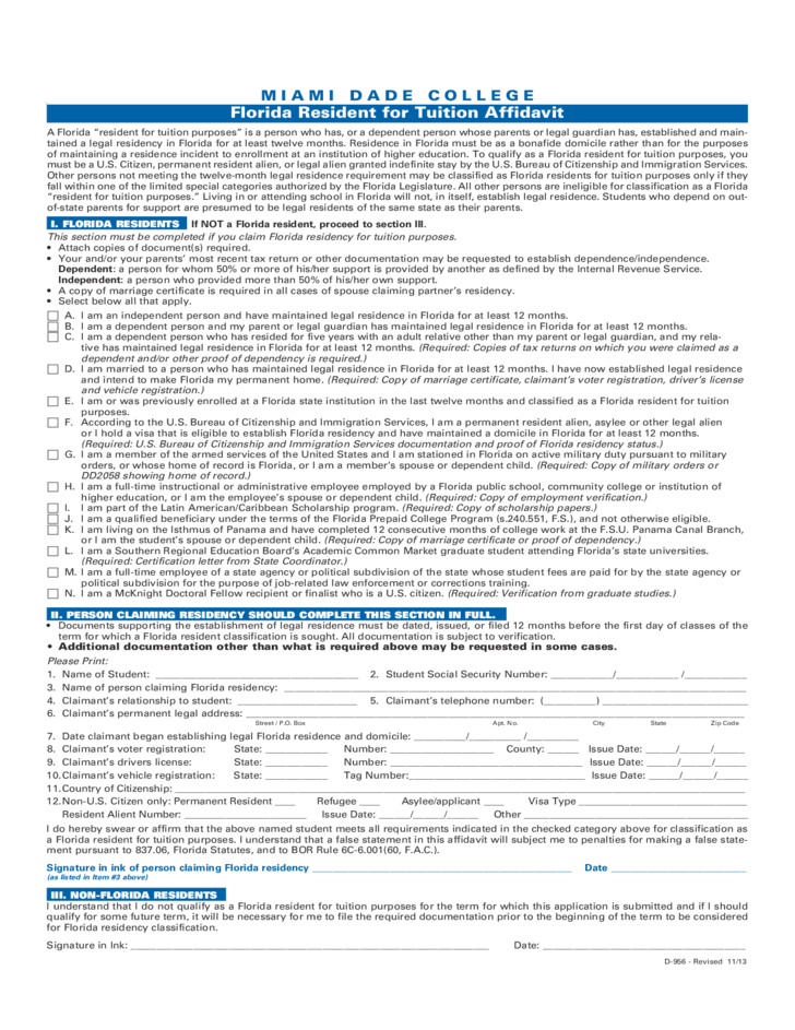 Miami Dade College Application Form for Admission