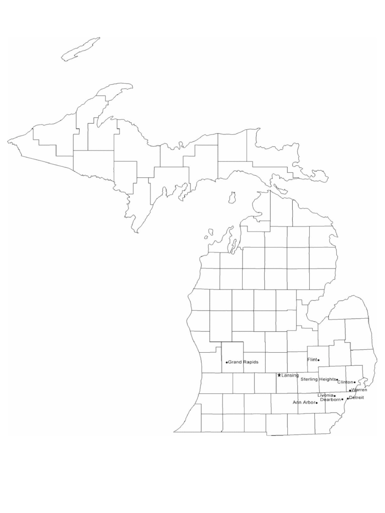 Map of Michigan Cities with City Names