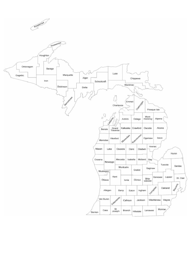 Michigan County Map with County Names