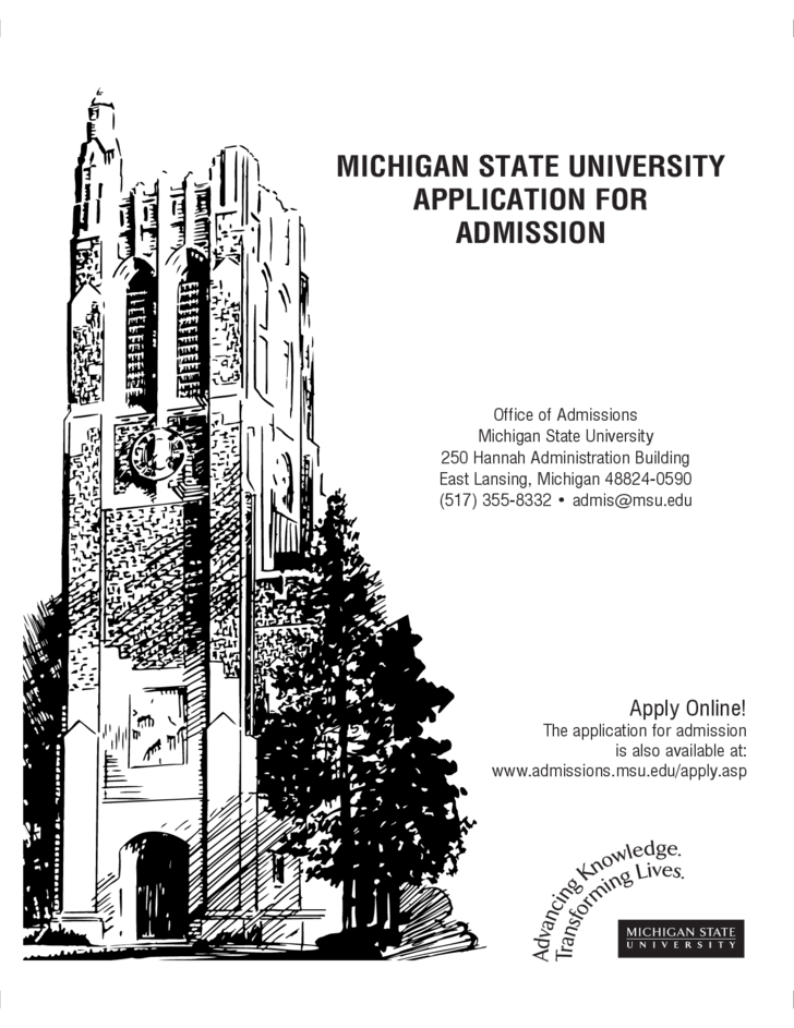Michigan State University Application Form for Admission