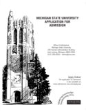 Michigan State University Application Form for Admission Free Download