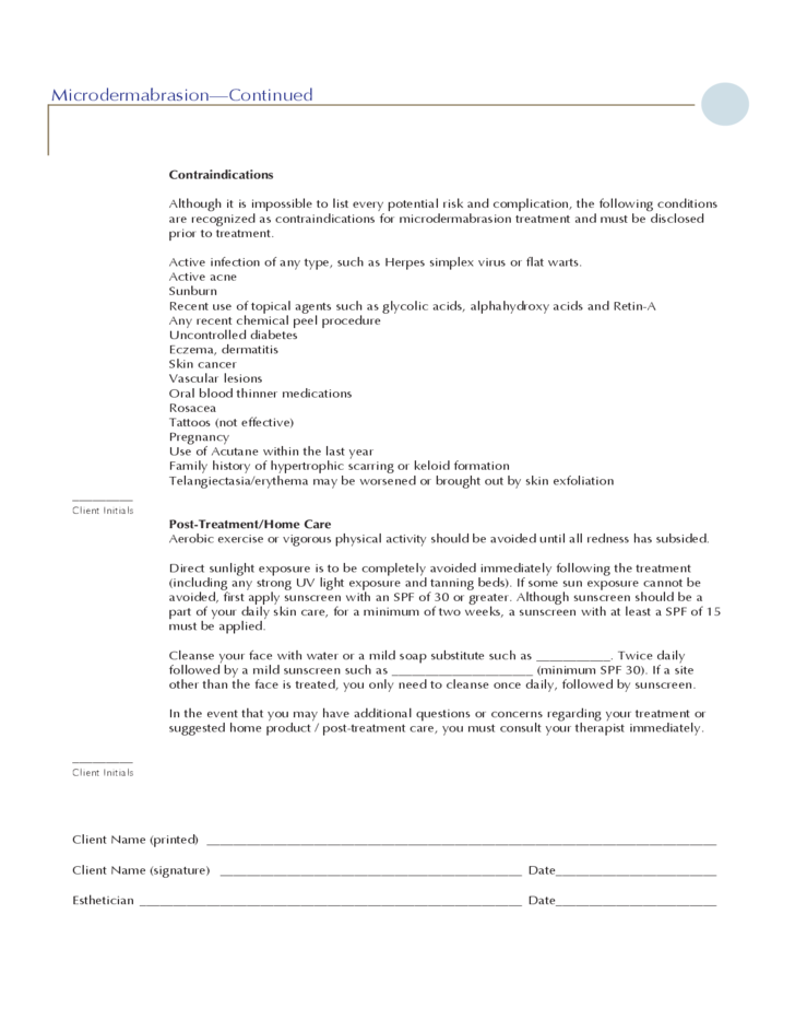 Take Over My Lease >> Microdermabrasion Information Sheet Free Download