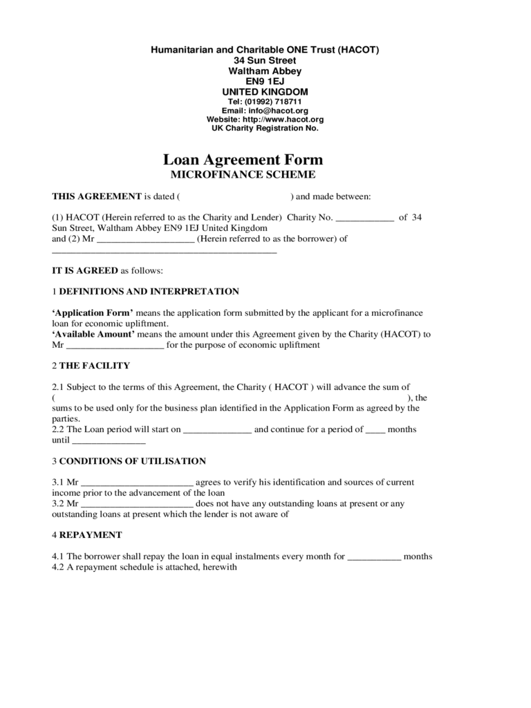 Microfinance Loan Application Form 2 Free Templates in PDF Word – Financial Loan Agreement Template