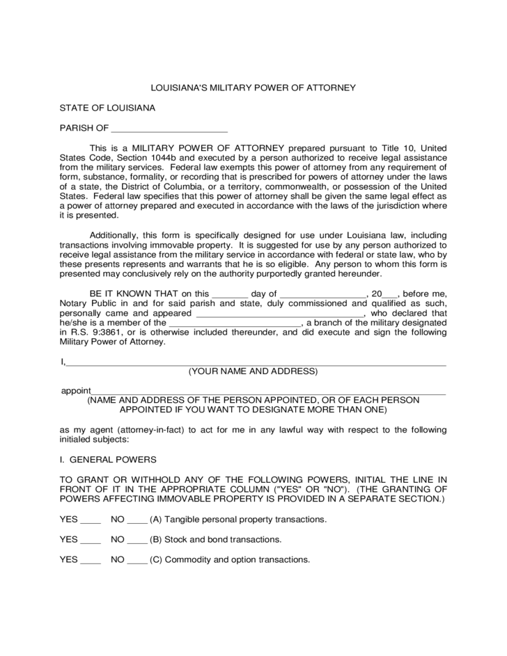 power of attorney form army  Military Power of Attorney Form - Louisiana Free Download