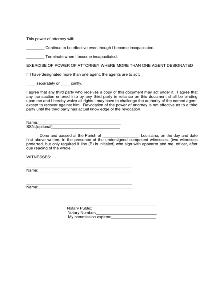 military power of attorney form