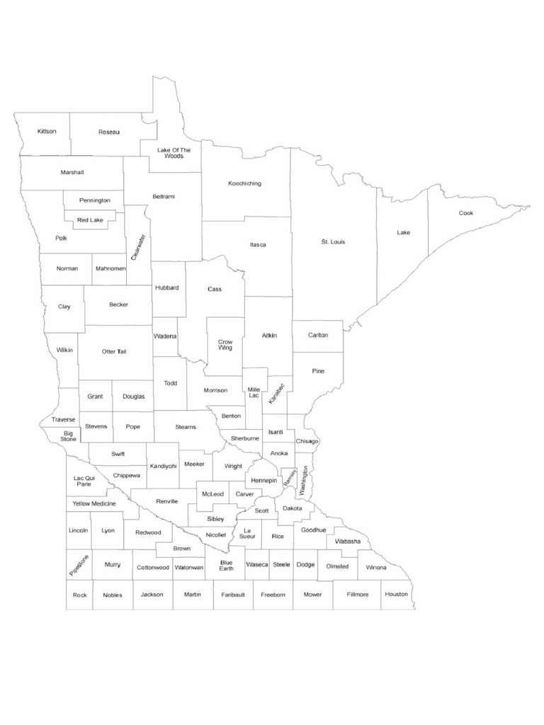 Minnesota County Map with County Names