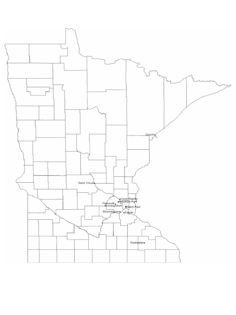 Map of Minnesota Cities with City Names