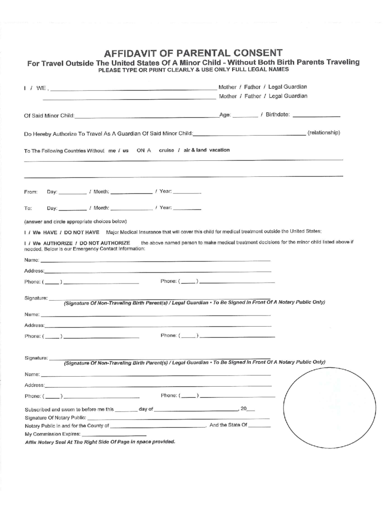 Affidavit for Parental Consent Form