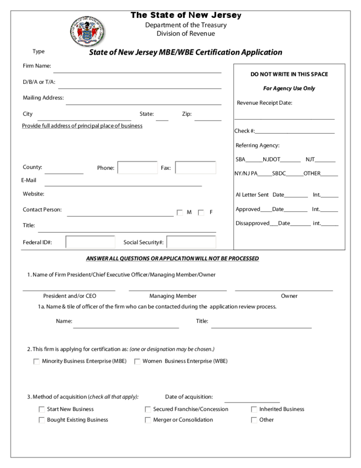 Mbe Wbe Certification Application New Jersey Free Download