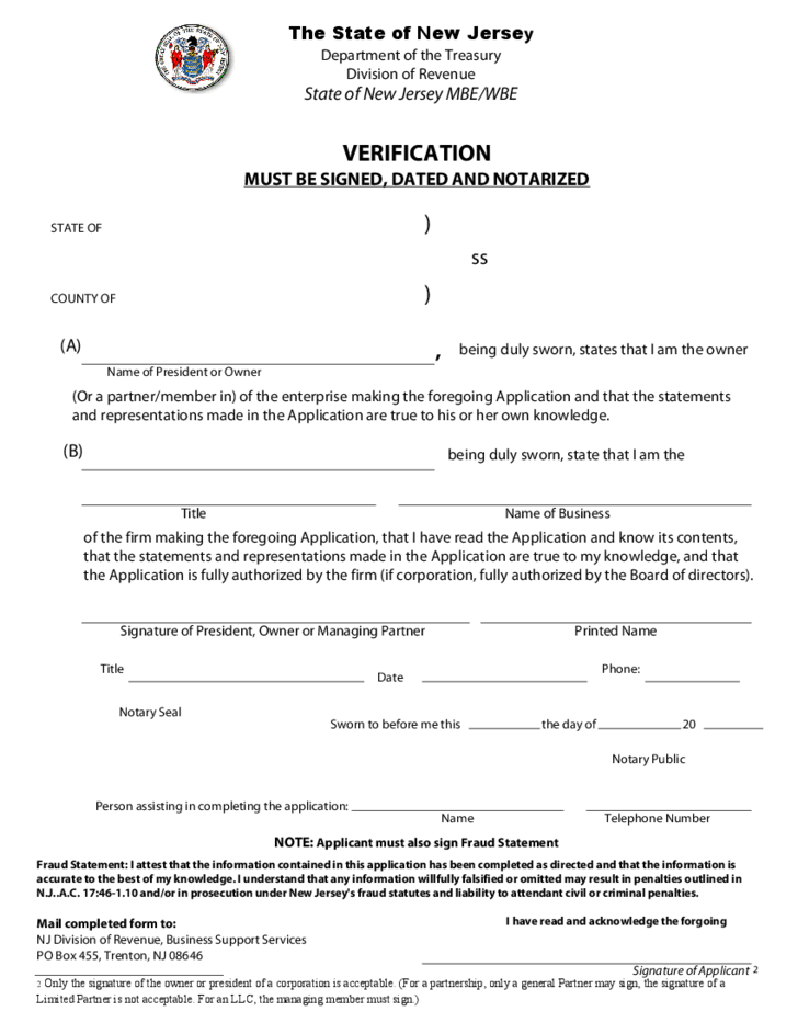 Mbewbe Certification Application New Jersey Free Download