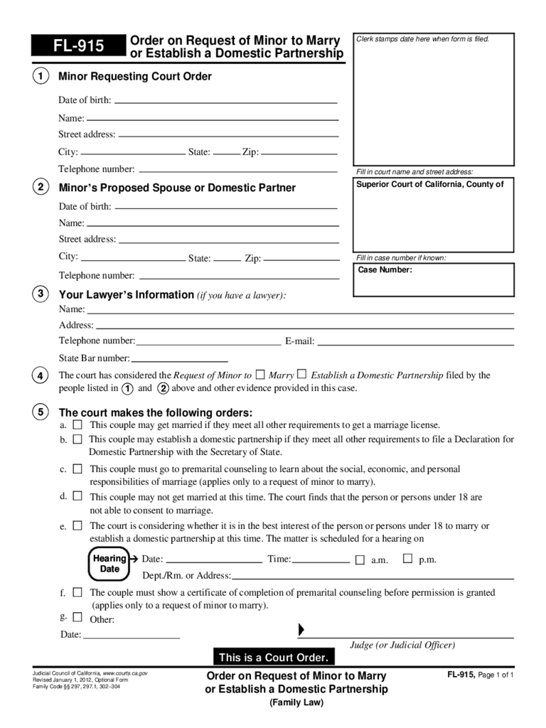 FL-915 Order on Request of Minor to Marry or Establish a Domestic Partnership