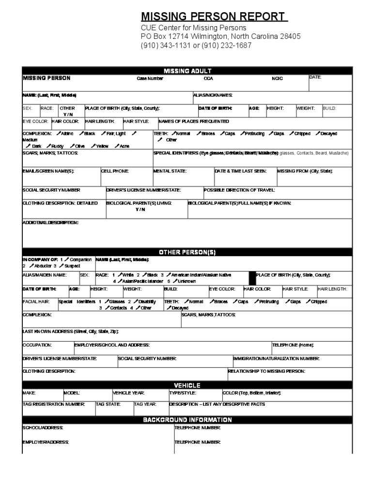 Missing Person Report Form - North Carolina