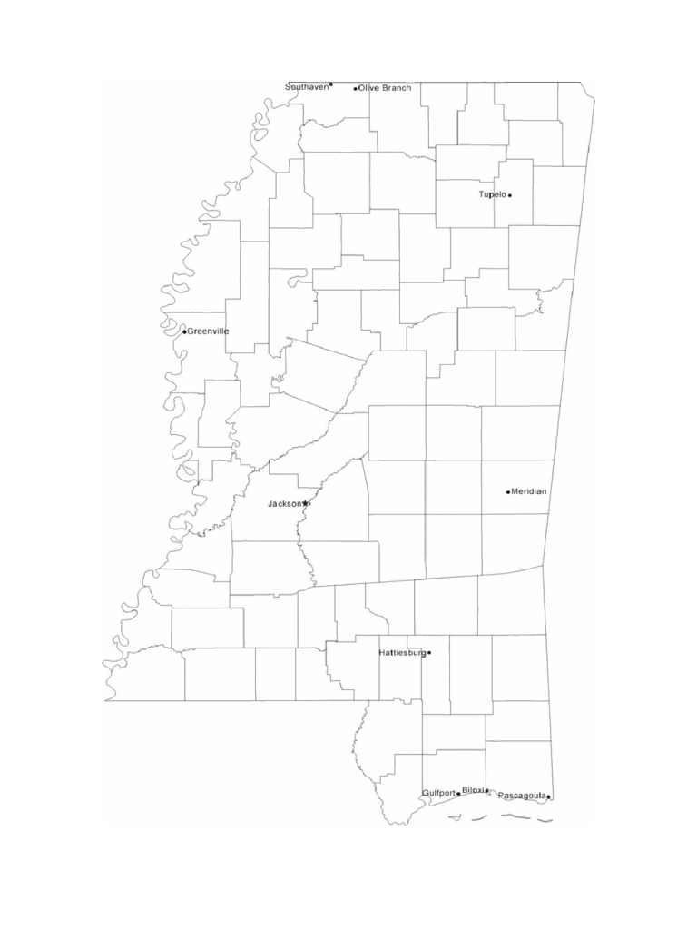 Map of Mississippi Cities with City Names