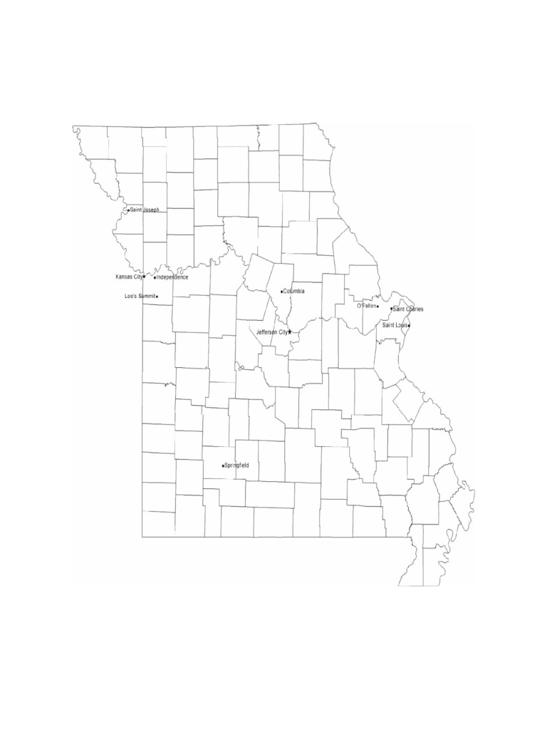 Map of Missouri Cities with City Names
