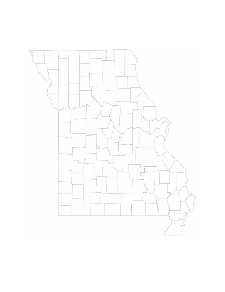 Blank Missouri County Map Free Download
