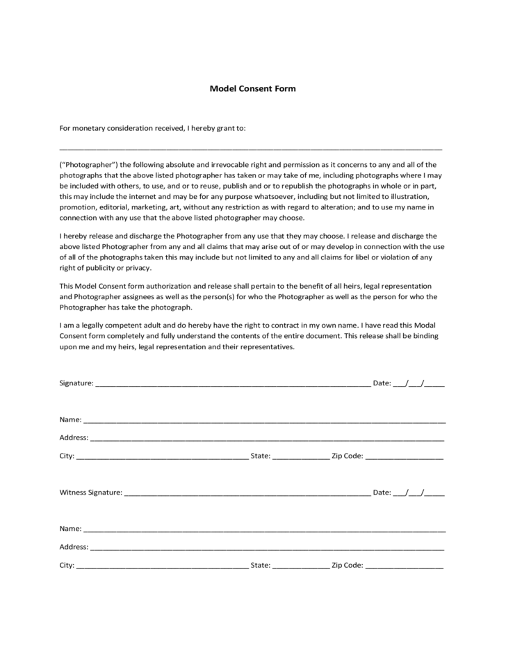 blank model consent form sample free download