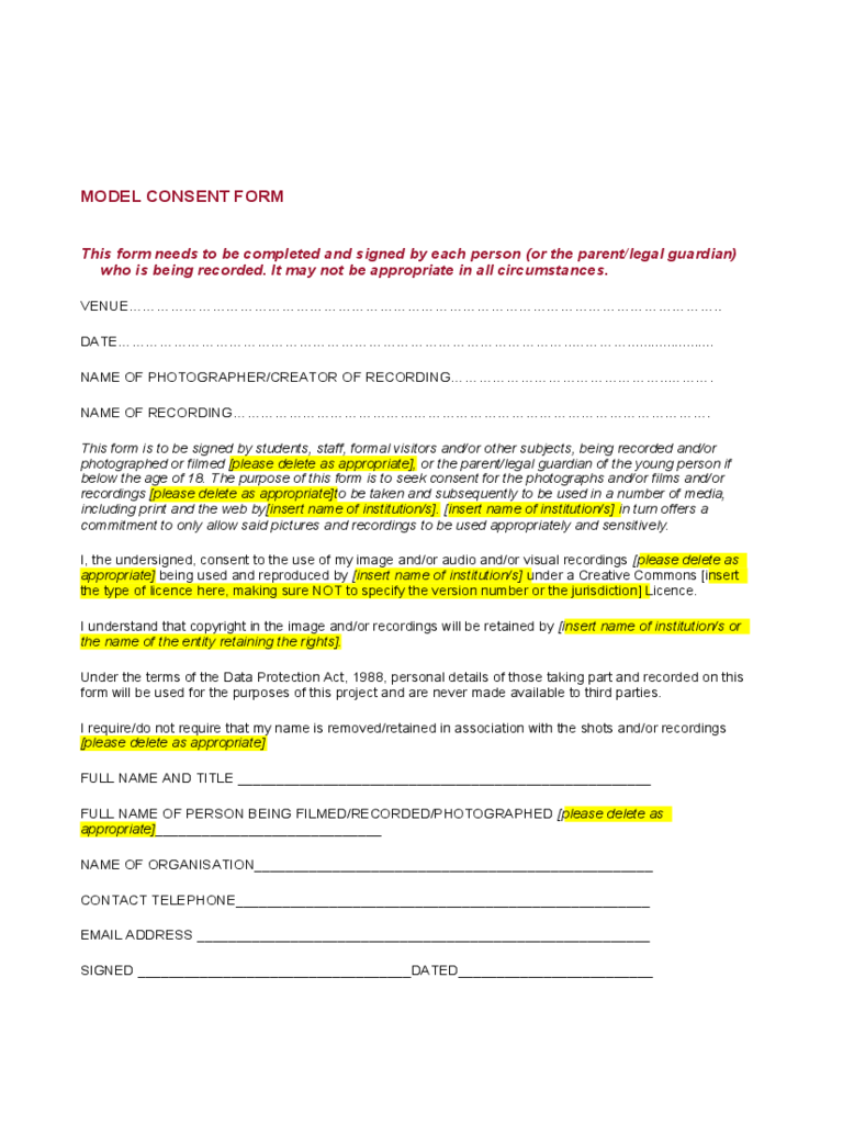 Model Consent Form Template  Blank Consent Form