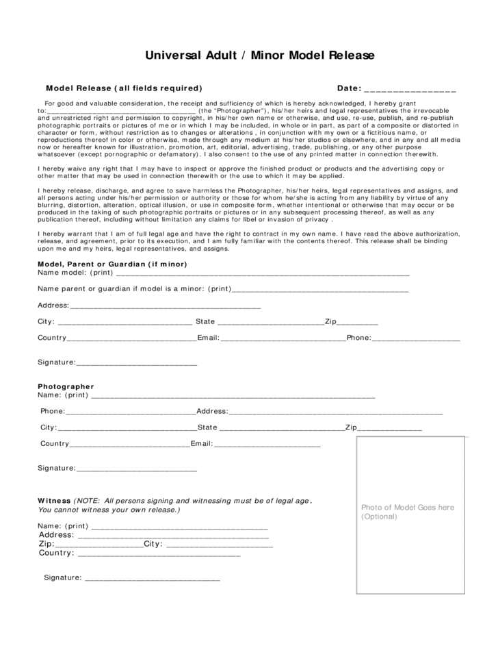 Adult model release forms 12