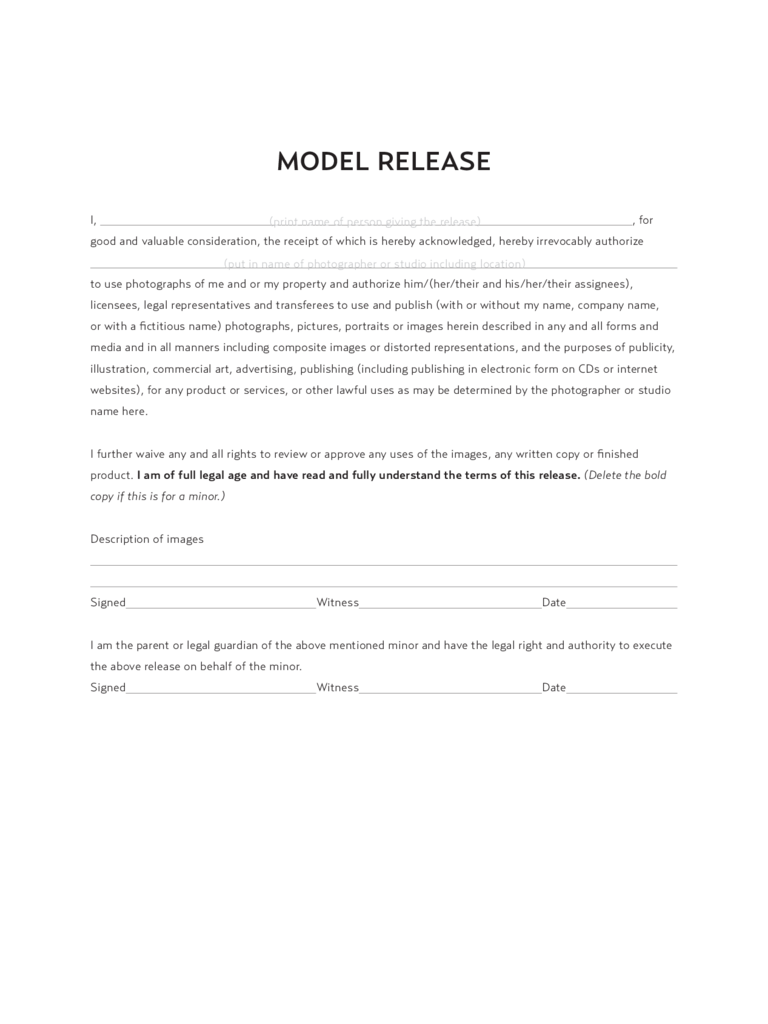 Model release form 8 free templates in pdf word excel for Standard model release form template
