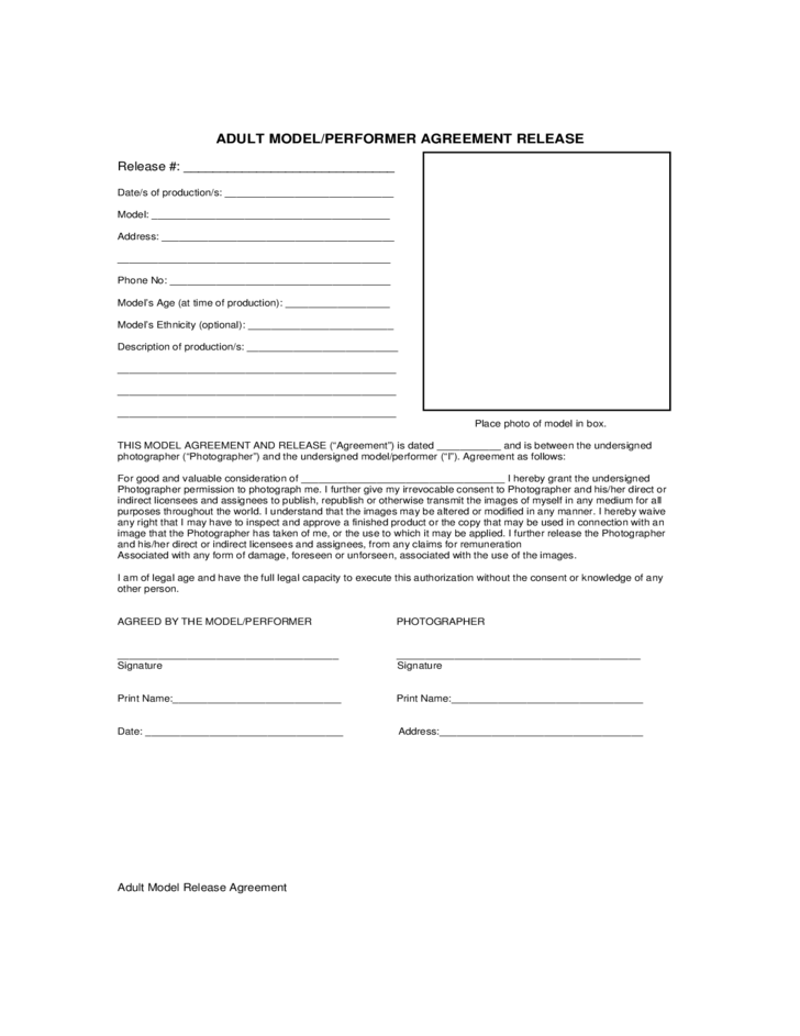 adult model  performer agreement release free download
