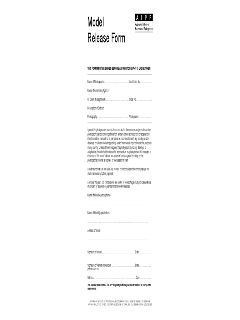 Model Release Form - AIPP Free Download