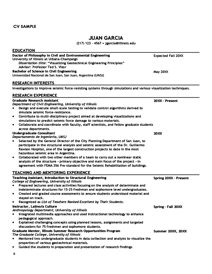 Curriculum Vitae Tips and Samples
