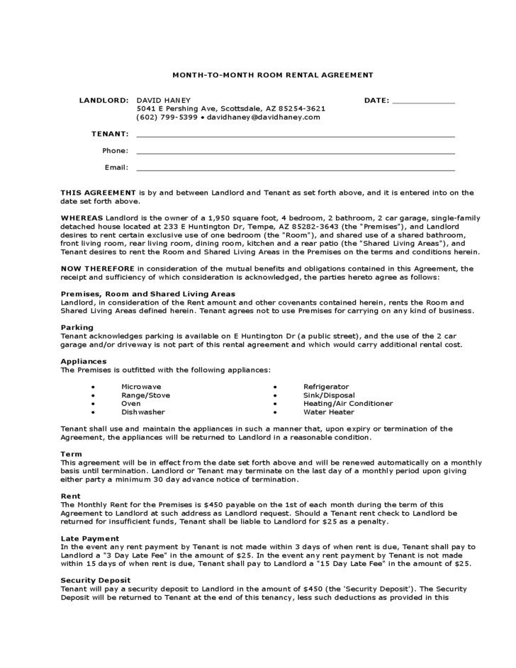 Month To Month Room Rental Agreement Landlord Template