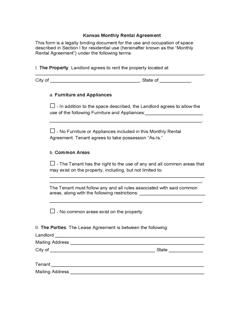 Kansas Month To Month Lease Agreement Free Download