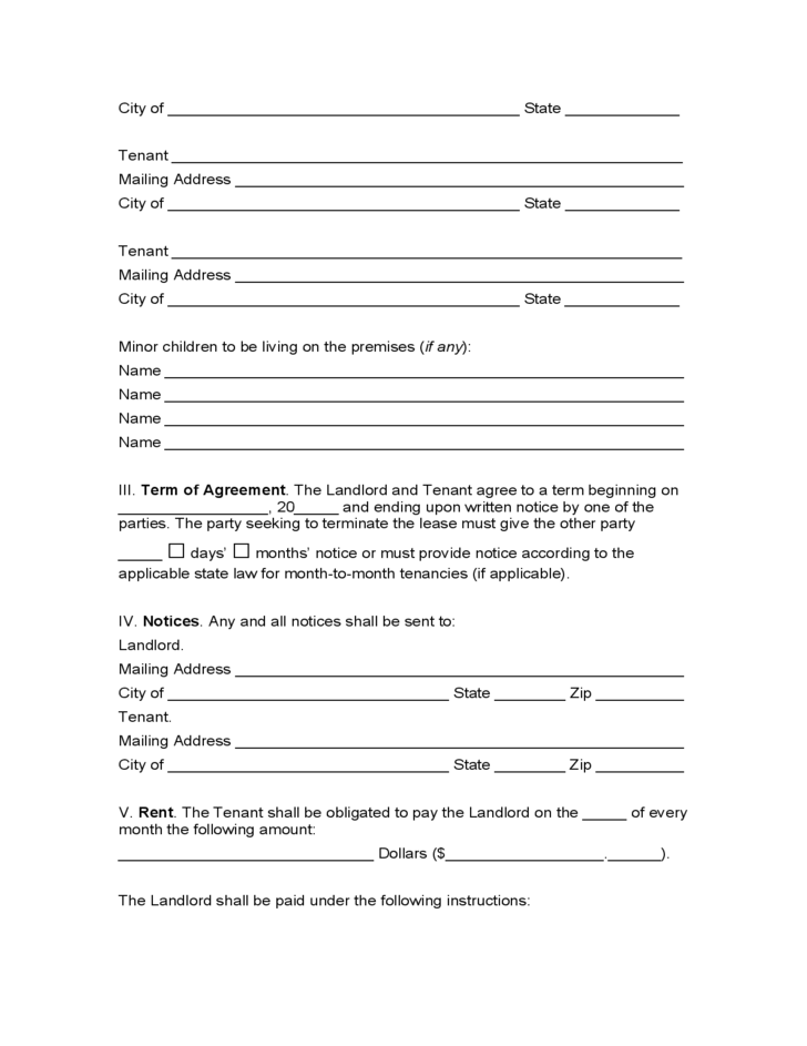 Indiana Month To Month Lease Agreement Free Download