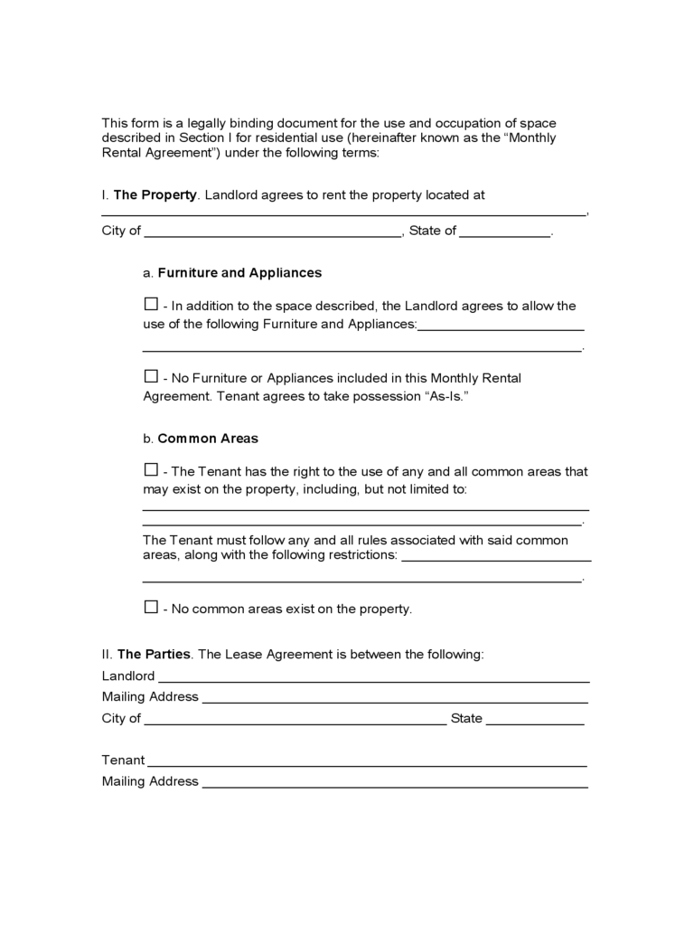 Idaho Month to Month Rental Agreement