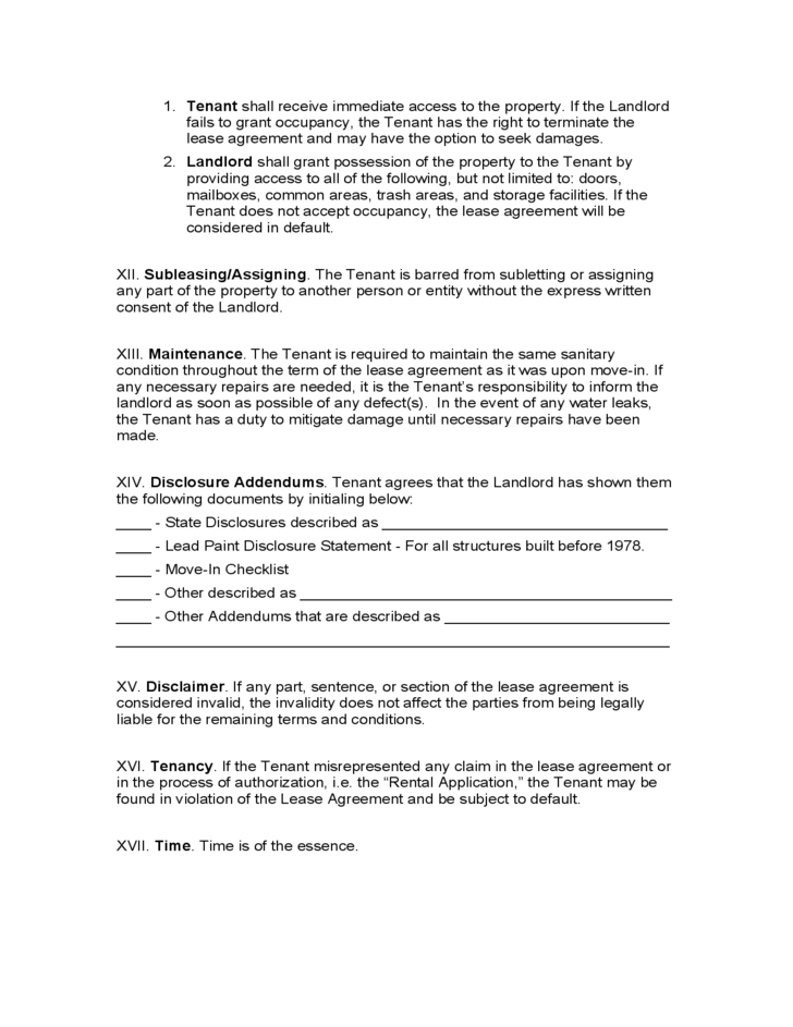 Kentucky Month To Month Lease Agreement Free Download