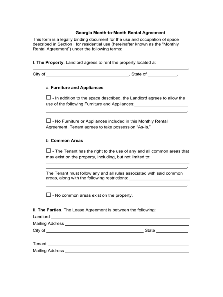 Month to Month Rental Agreement Form 86 Free Templates in PDF – Tenant Lease Form
