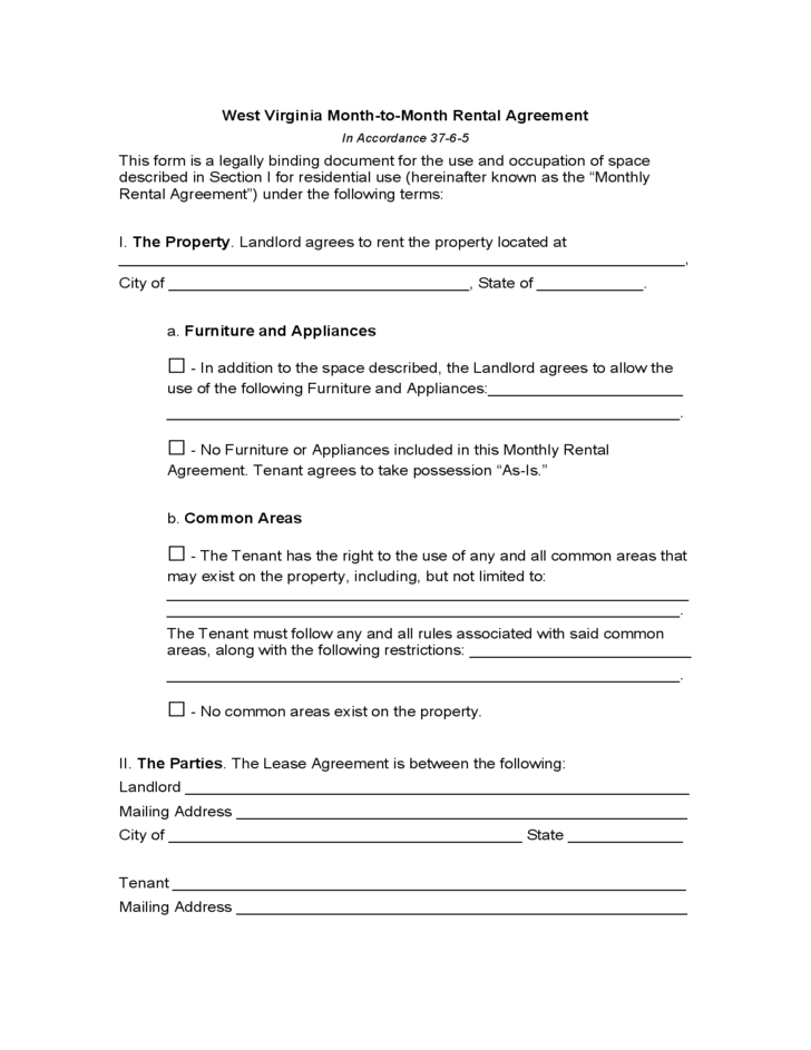West Virginia Month To Month Lease Agreement Free Download