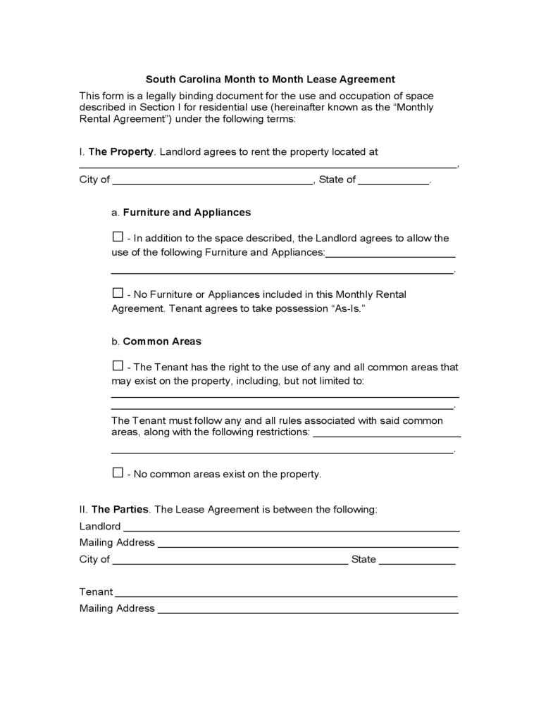 South Carolina Month To Month Lease Agreement Free Download