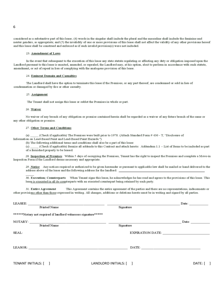 North Carolina Monthly Lease Agreement Free Download