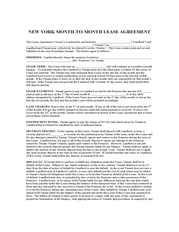 New York Month To Month Lease Agreement Free Download