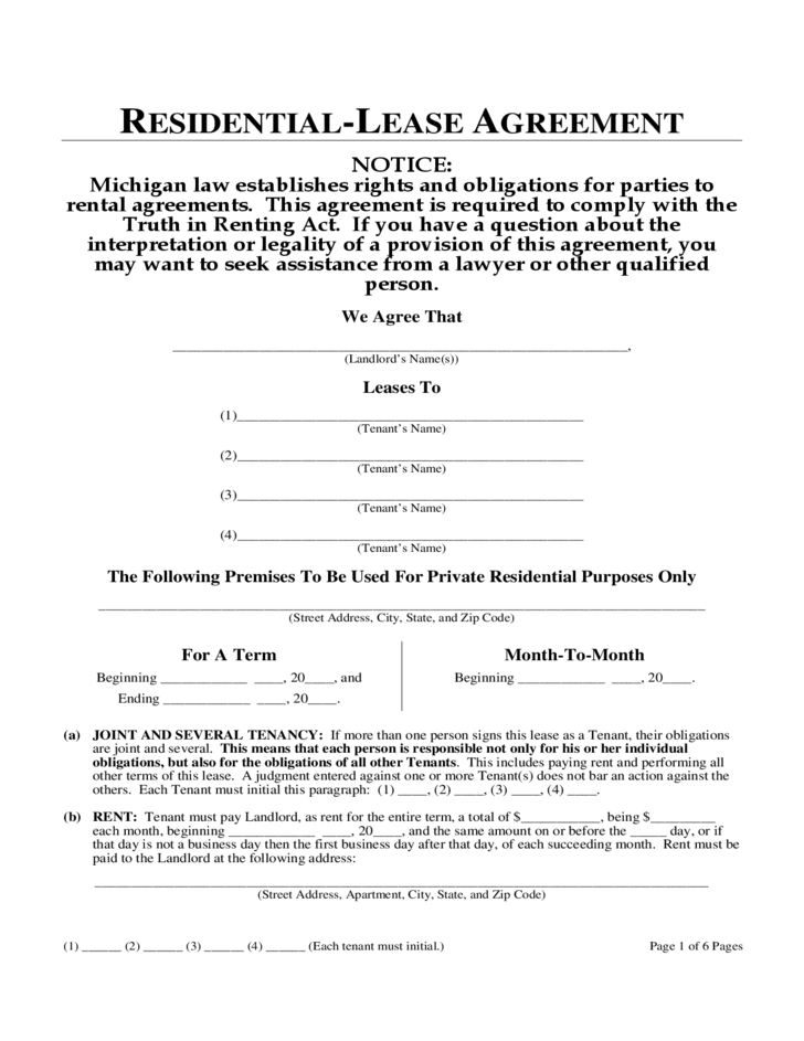 Michigan Month To Month Lease Agreement Free Download