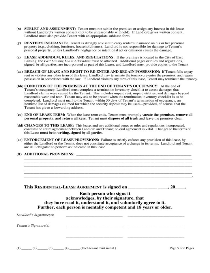 Michigan Month-to-Month Lease Agreement Free Download