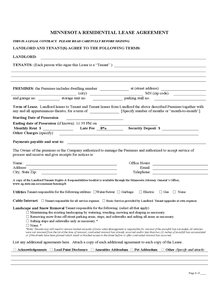 Minnesota Rent And Lease Template Free Templates In Pdf