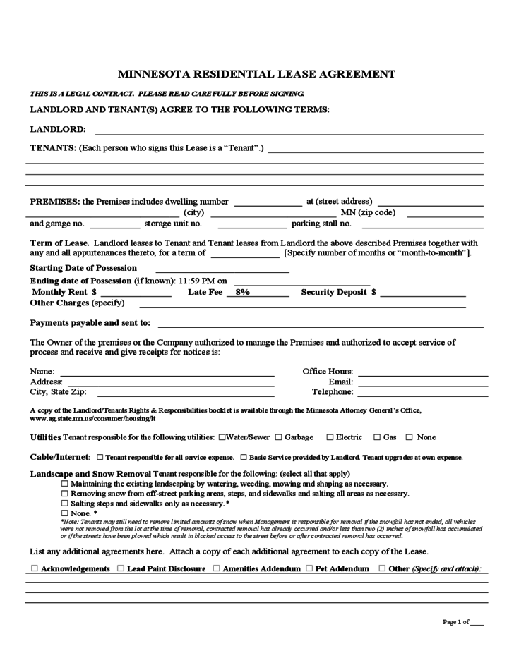 Minnesota Month To Month Lease Agreement Free Download
