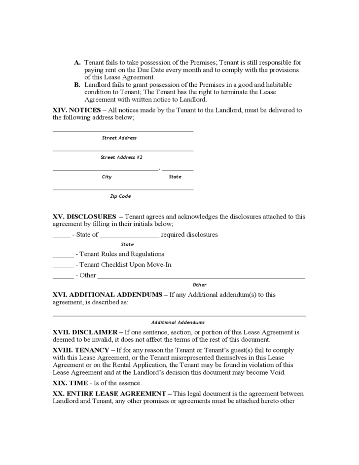 North Carolina Monthly Rental Agreement Free Download