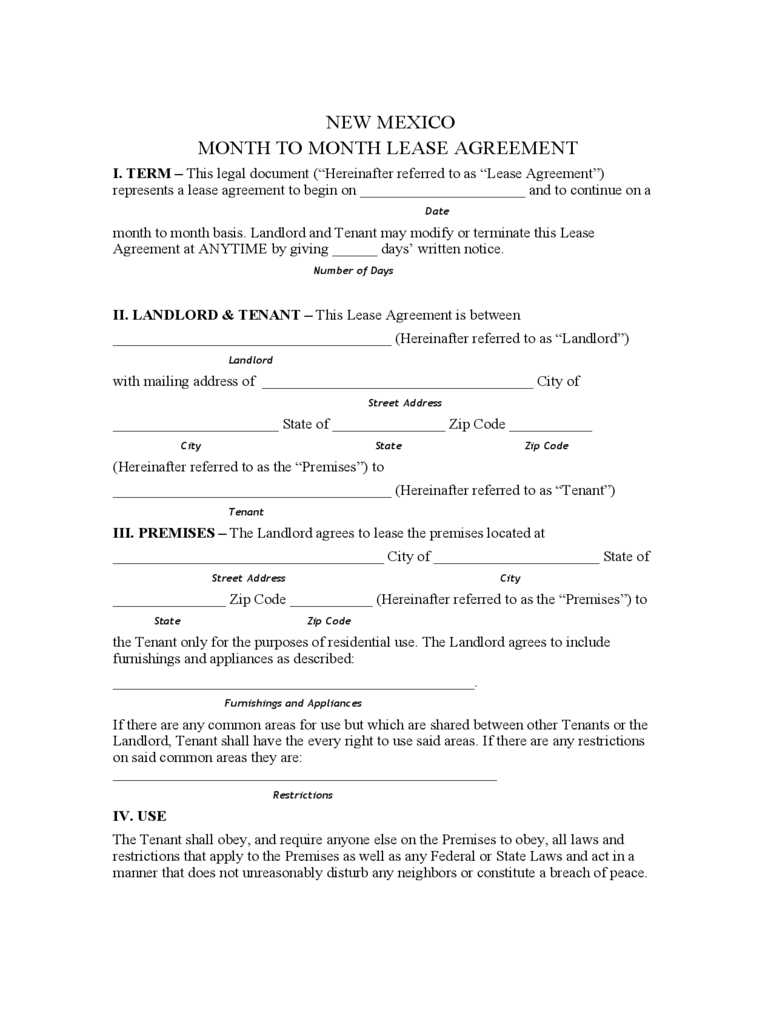 New Mexico Month to Month Rental Agreement