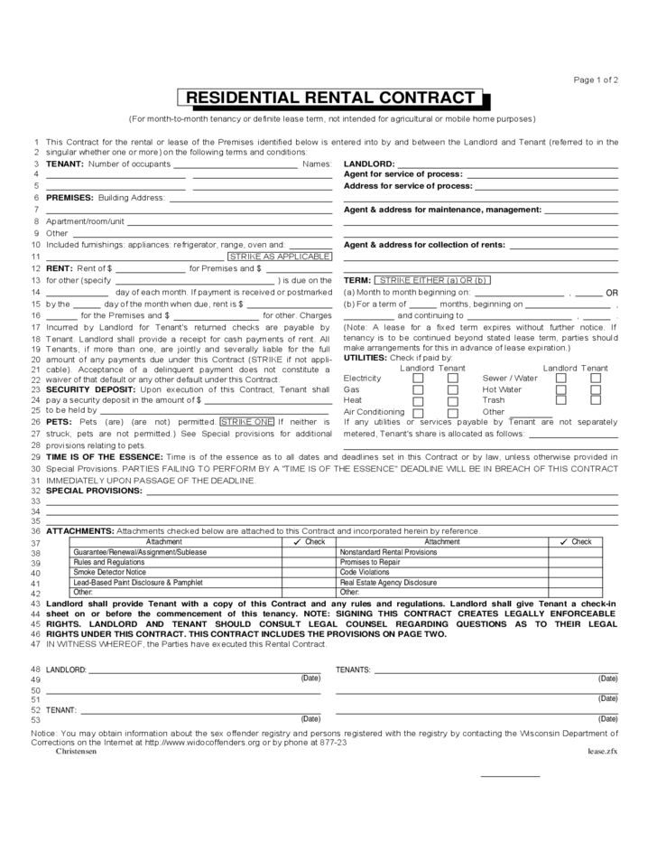 12 month lease agreement template - wisconsin month to month lease agreement free download