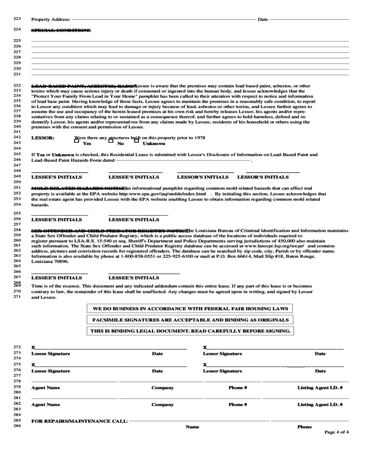 louisiana monthly rental agreement free download