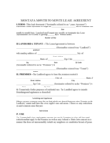 Montana Month to Month Rental Agreement